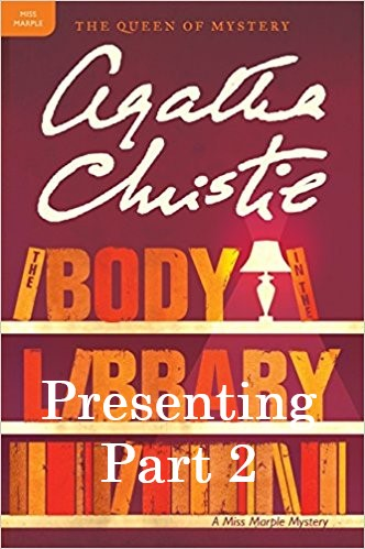 Shelves of Agatha Christie library books