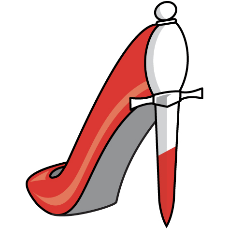 scarlet stiletto shoe icon featuring a dagger-shaped heel