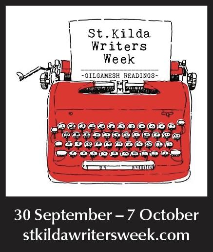 St Kilda Writers Week logo with red typewriter. 30 September - 7 October. stkildawritersweek.com