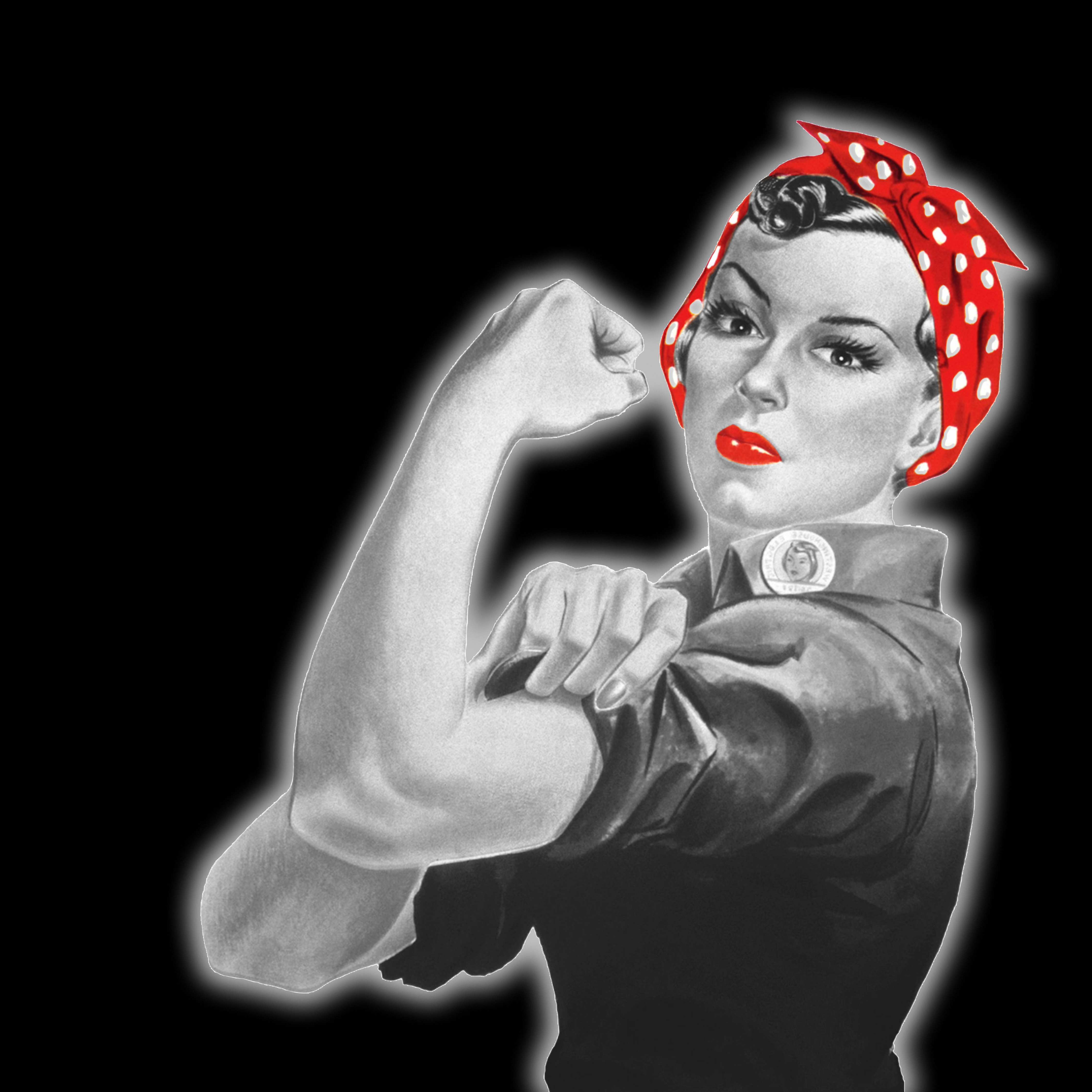 Black and white version of iconic image of World War !! woman in overalls with hair wrapped up in a spotted red scarf and red lipstick