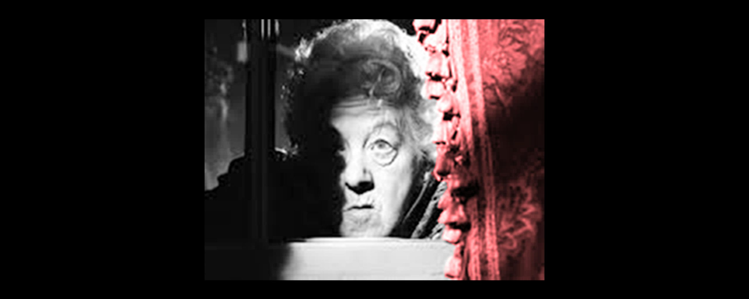 Miss Marple played by Margaret Rutherford peeping from behind her lace curtain